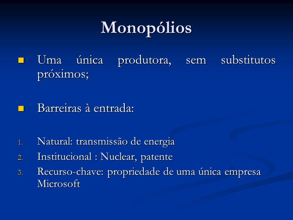 Monopólios Uma única produtora, sem substitutos próximos;