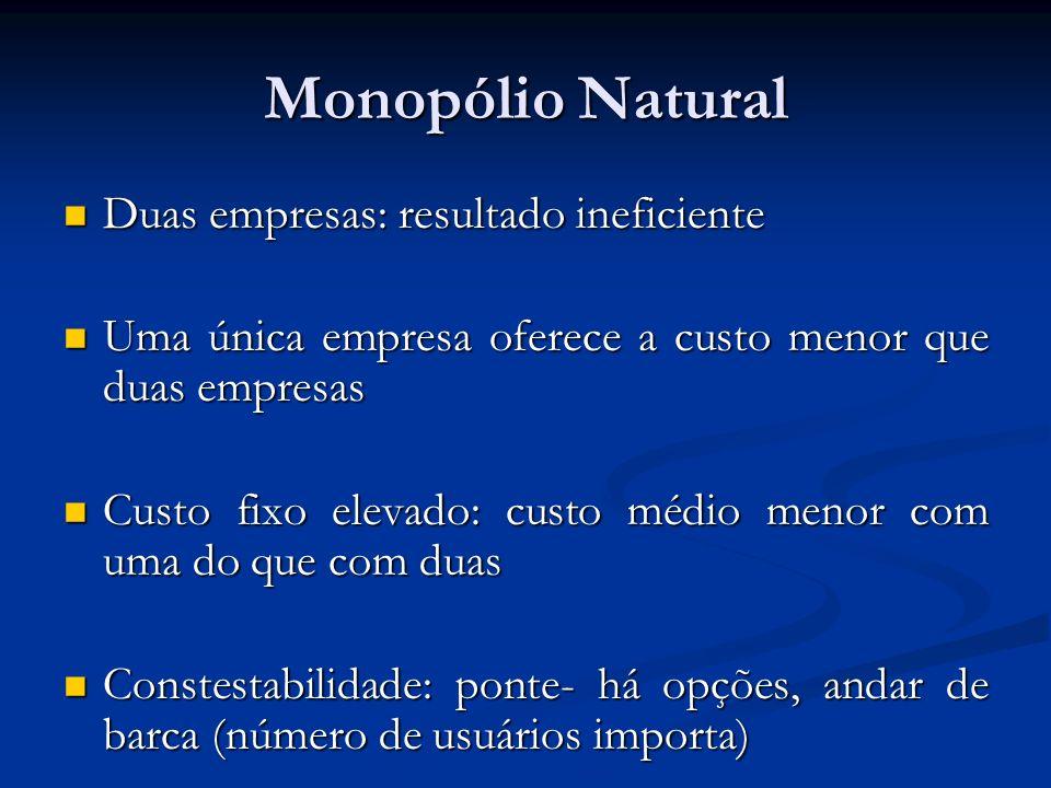 Monopólio Natural Duas empresas: resultado ineficiente