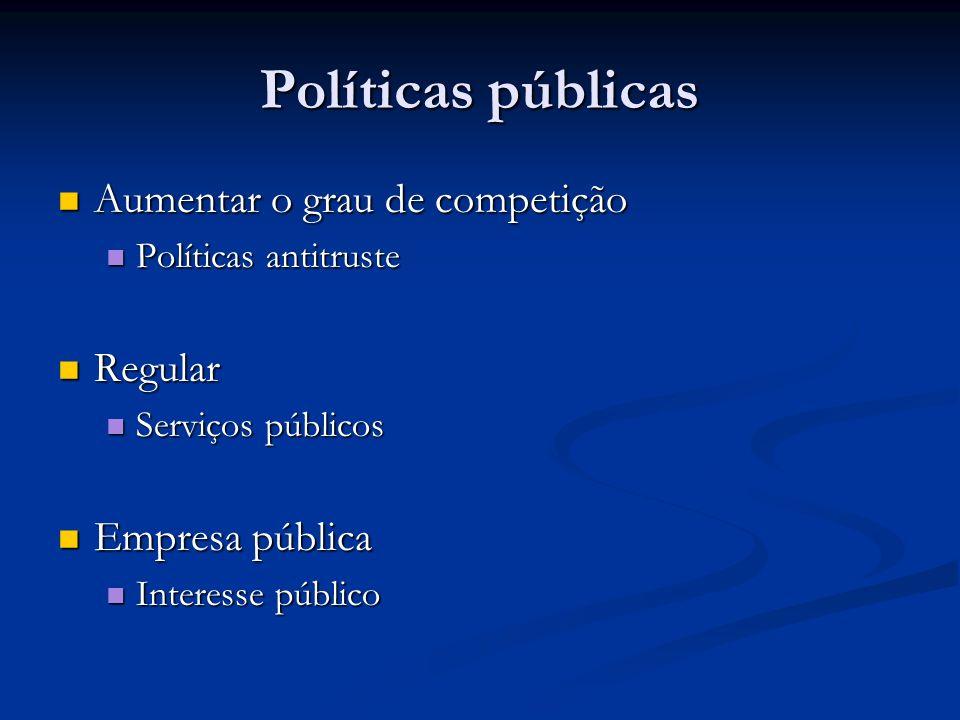Políticas públicas Aumentar o grau de competição Regular