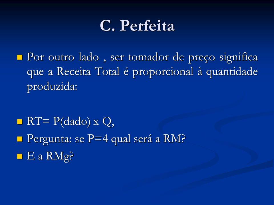 C. Perfeita Por outro lado , ser tomador de preço significa que a Receita Total é proporcional à quantidade produzida: