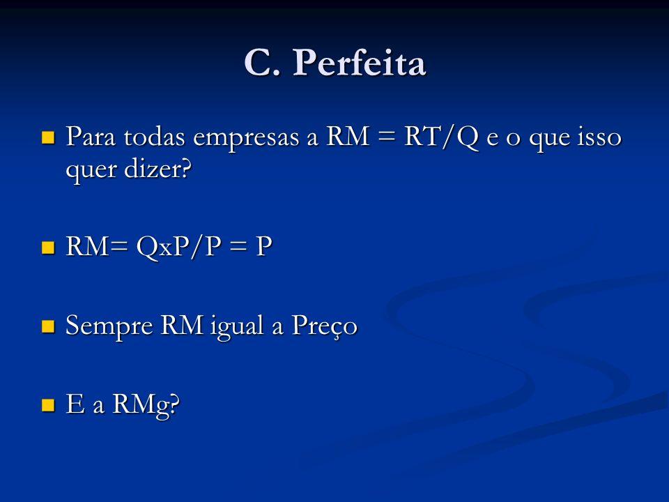 C. Perfeita Para todas empresas a RM = RT/Q e o que isso quer dizer