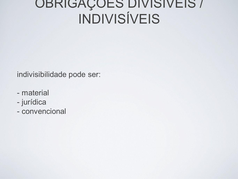 OBRIGAÇÕES DIVISÍVEIS / INDIVISÍVEIS