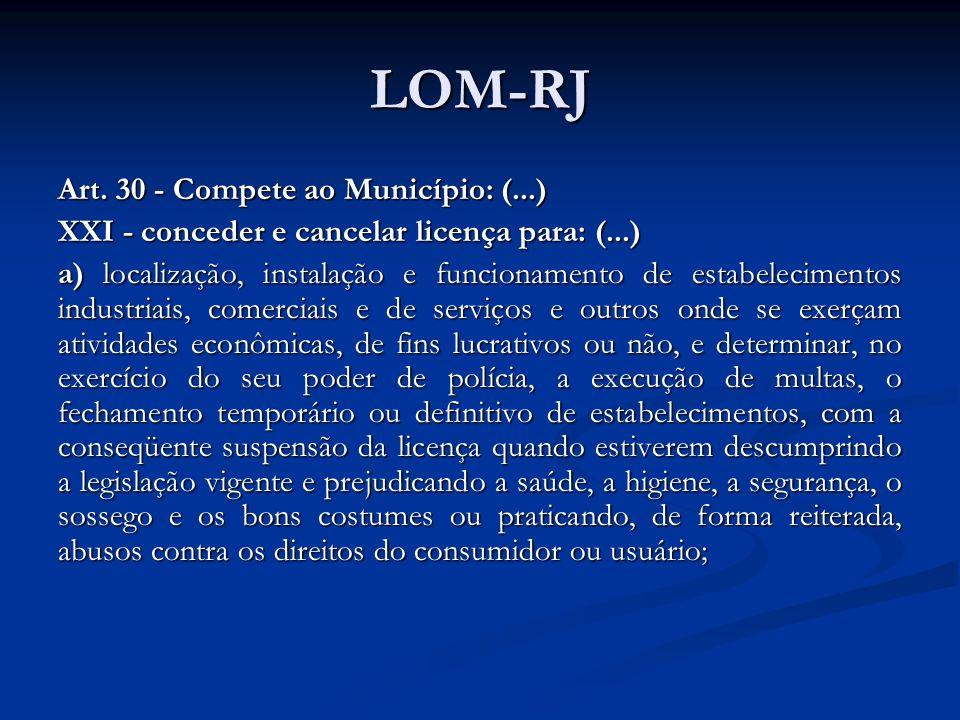 LOM-RJ Art. 30 - Compete ao Município: (...)