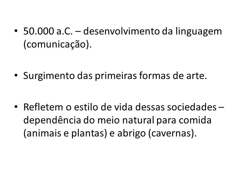 50.000 a.C. – desenvolvimento da linguagem (comunicação).
