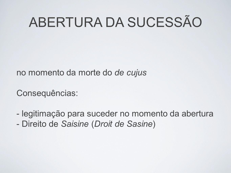 ABERTURA DA SUCESSÃO no momento da morte do de cujus Consequências: