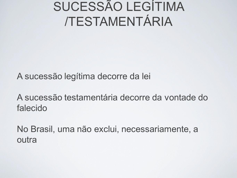 SUCESSÃO LEGÍTIMA /TESTAMENTÁRIA