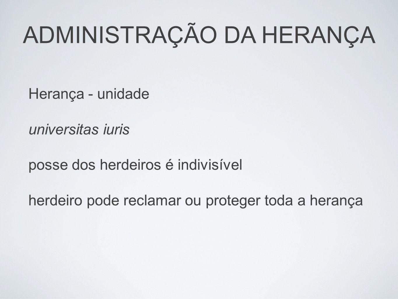 ADMINISTRAÇÃO DA HERANÇA