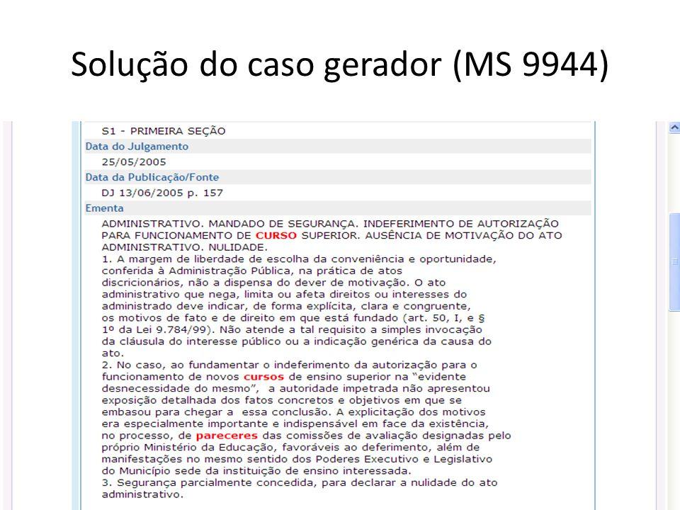 Solução do caso gerador (MS 9944)
