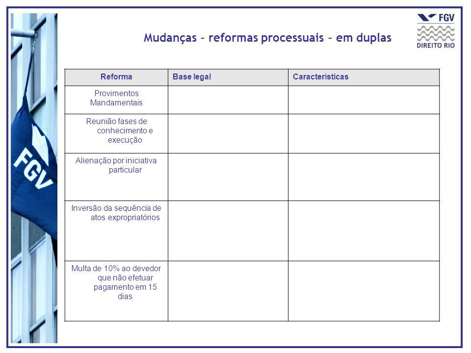 Mudanças – reformas processuais – em duplas