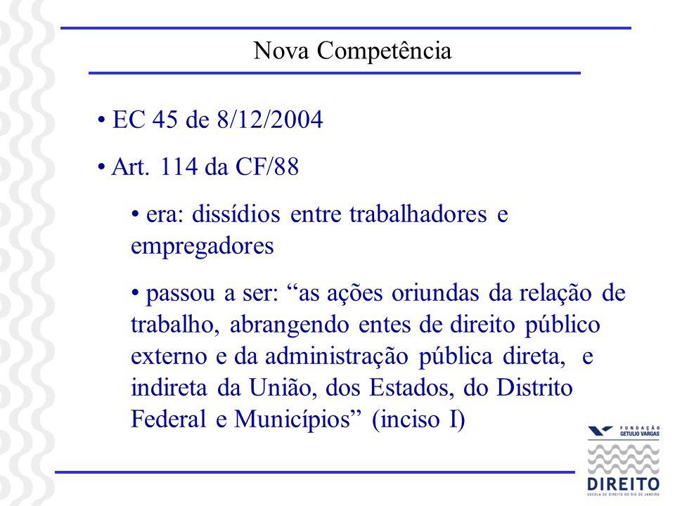 Nova CompetênciaEC 45 de 8/12/2004. Art. 114 da CF/88. era: dissídios entre trabalhadores e empregadores.