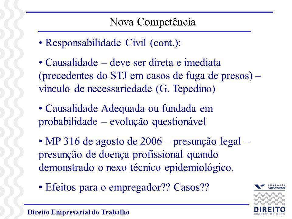 Nova Competência Responsabilidade Civil (cont.):