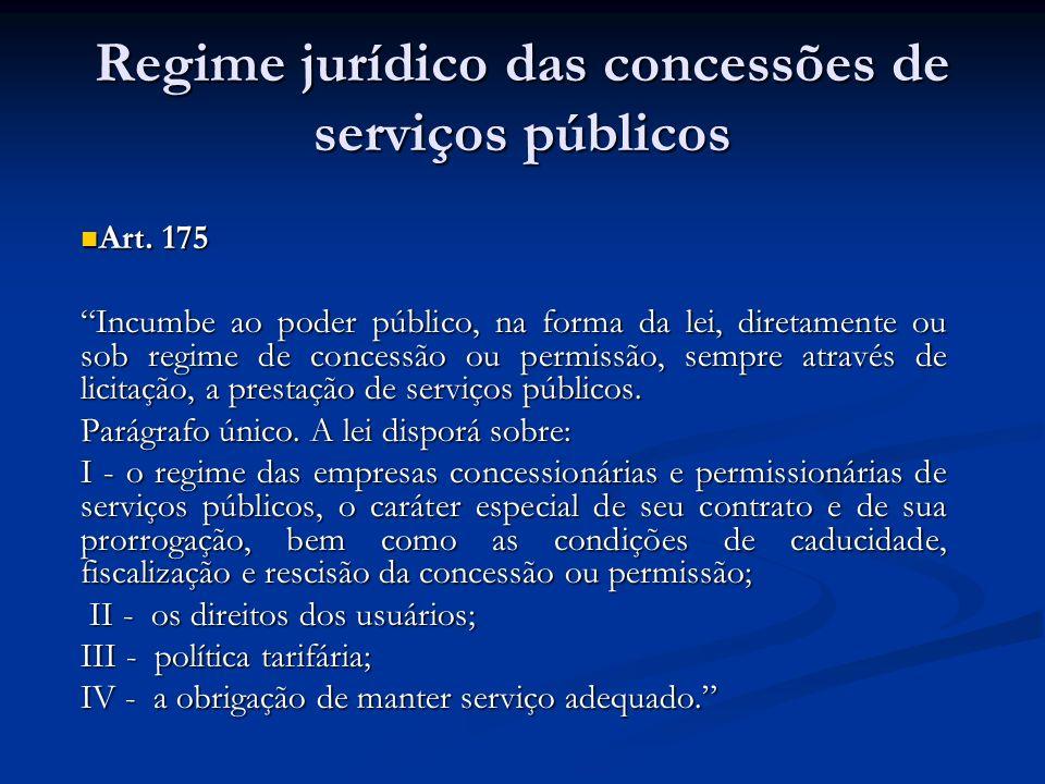 Regime jurídico das concessões de serviços públicos