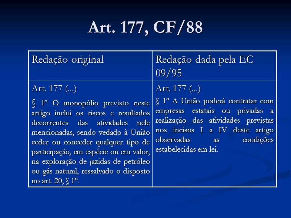 Art. 177, CF/88 Redação original Redação dada pela EC 09/95