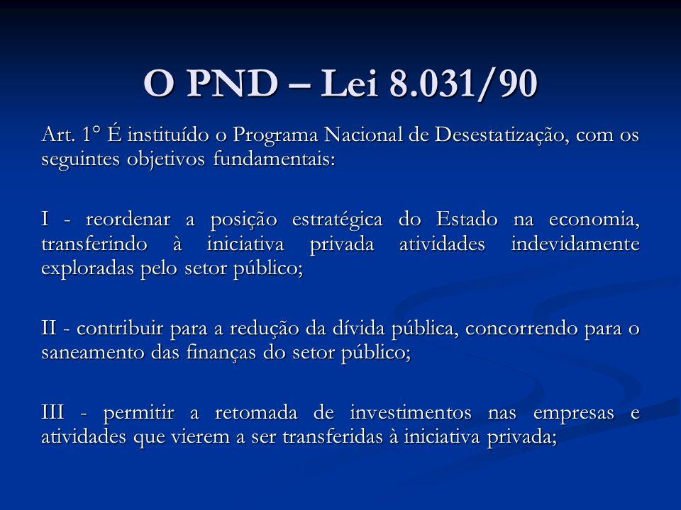 O PND – Lei 8.031/90 Art. 1° É instituído o Programa Nacional de Desestatização, com os seguintes objetivos fundamentais: