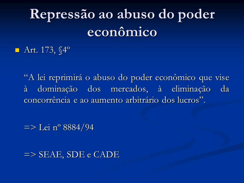 Repressão ao abuso do poder econômico