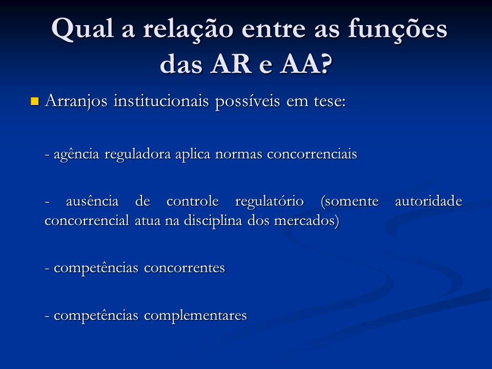 Qual a relação entre as funções das AR e AA