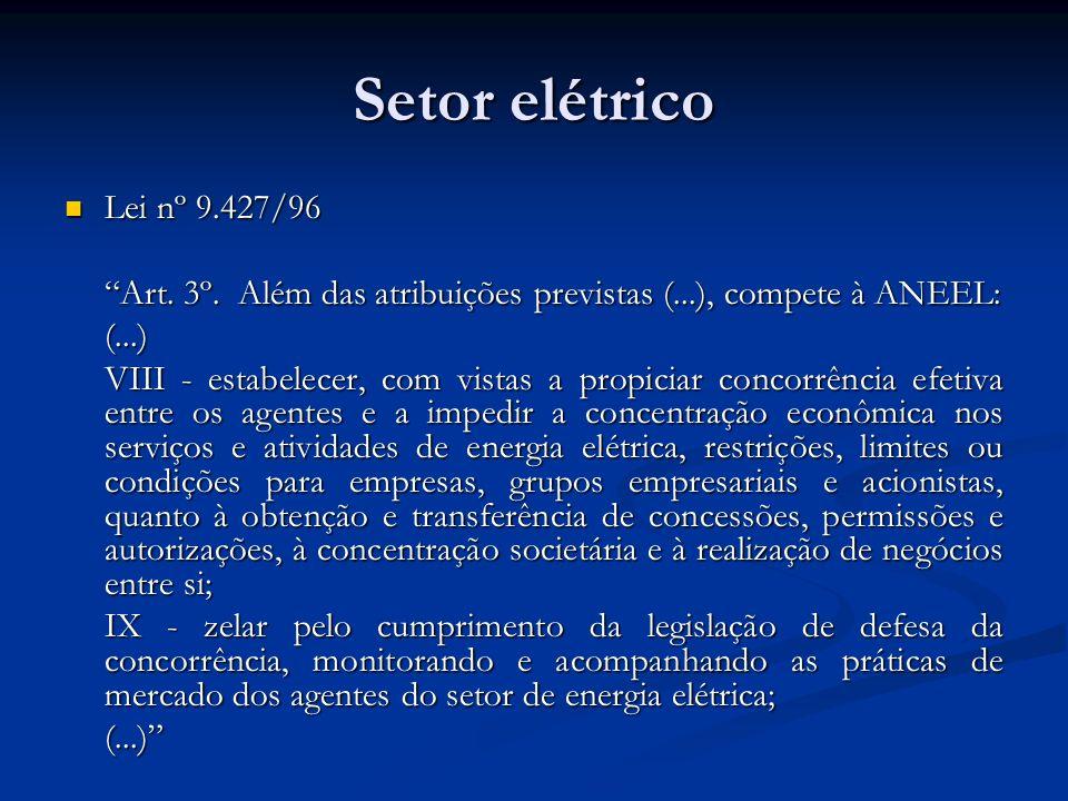 Setor elétrico Lei nº 9.427/96. Art. 3º. Além das atribuições previstas (...), compete à ANEEL: (...)