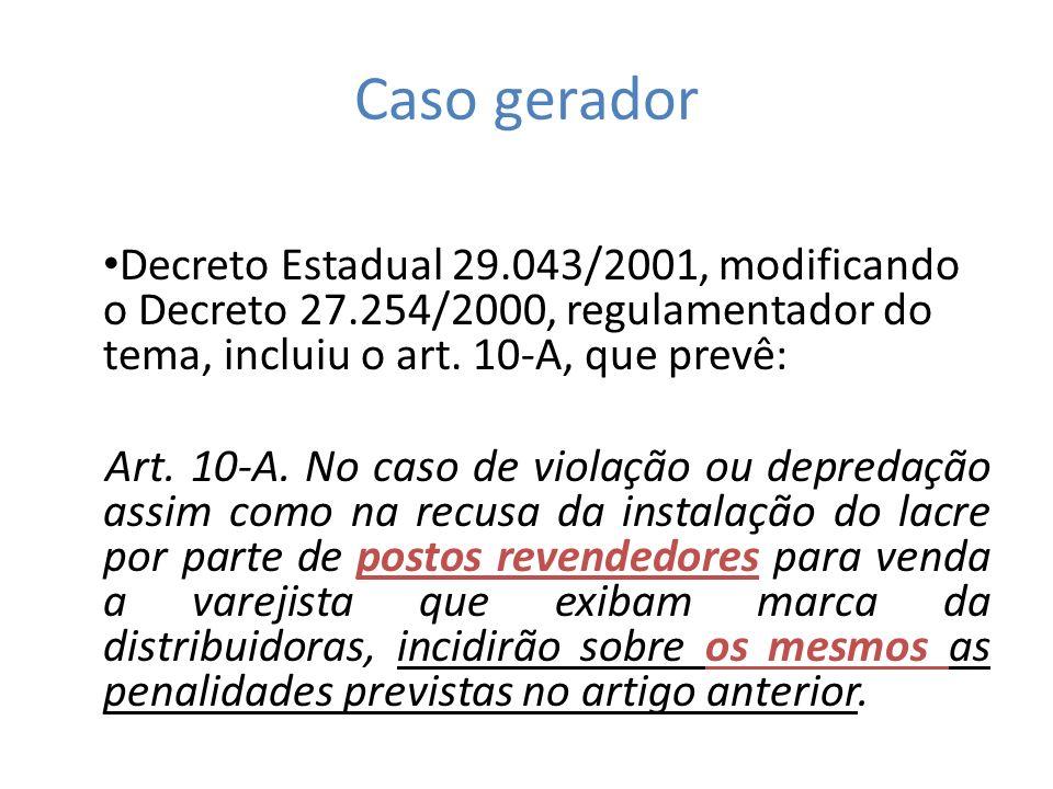 Caso gerador Decreto Estadual 29.043/2001, modificando o Decreto 27.254/2000, regulamentador do tema, incluiu o art. 10-A, que prevê: