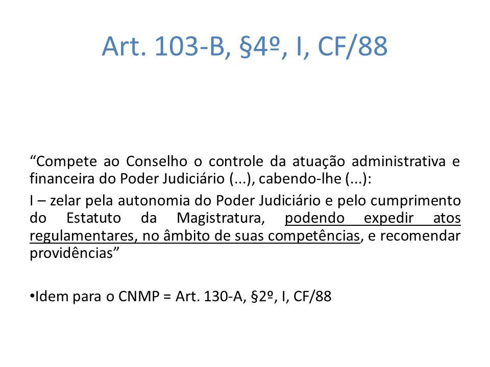 Art. 103-B, §4º, I, CF/88 Compete ao Conselho o controle da atuação administrativa e financeira do Poder Judiciário (...), cabendo-lhe (...):