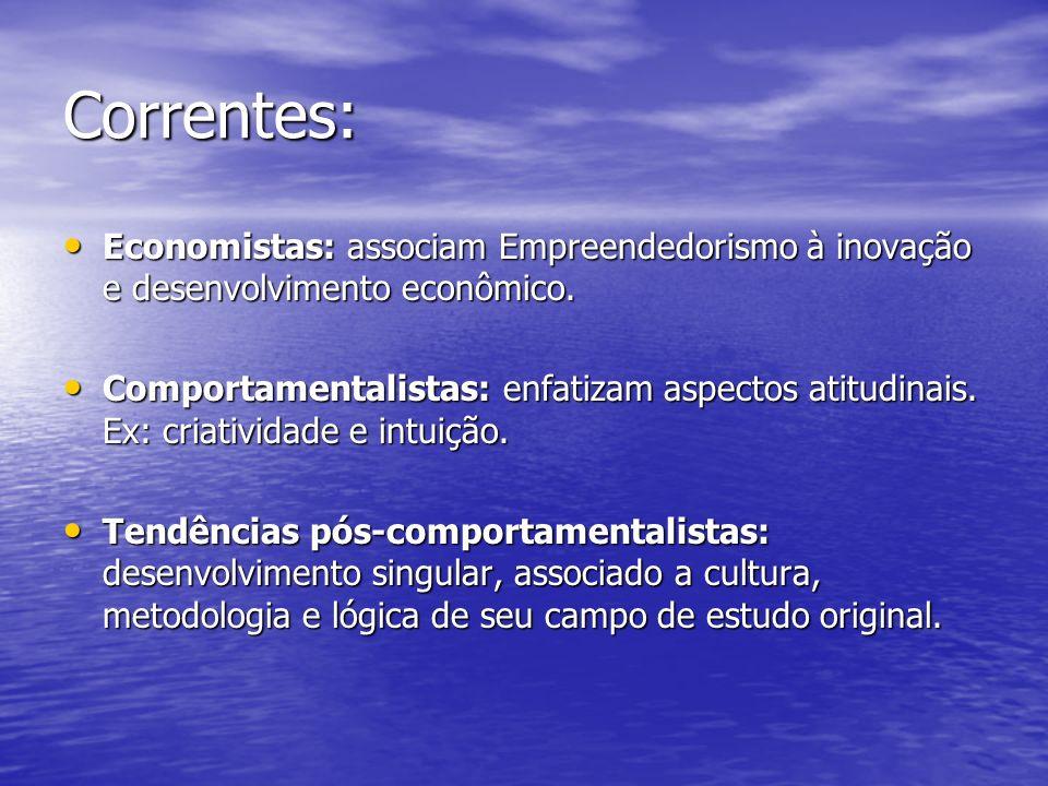 Correntes: Economistas: associam Empreendedorismo à inovação e desenvolvimento econômico.