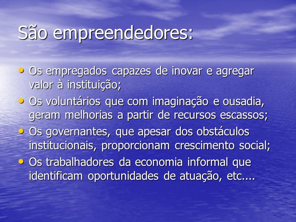 São empreendedores: Os empregados capazes de inovar e agregar valor à instituição;