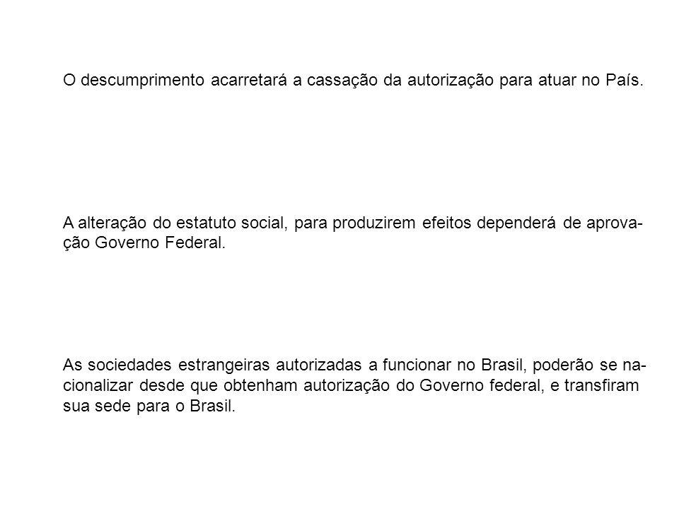 O descumprimento acarretará a cassação da autorização para atuar no País.