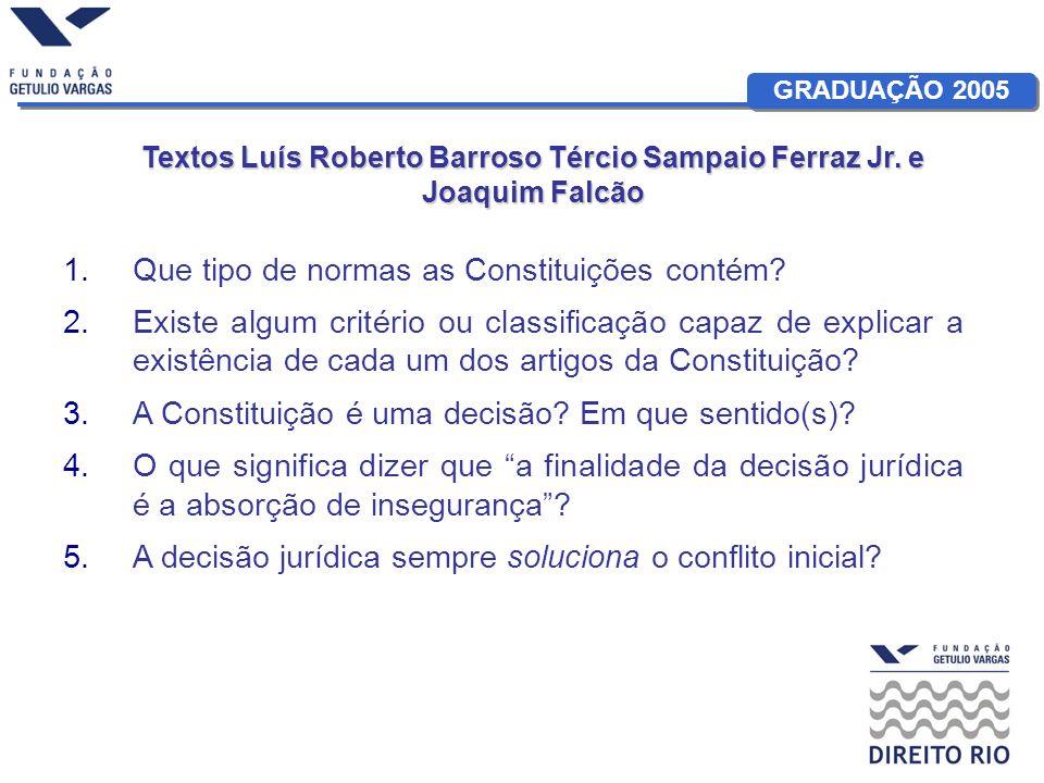 Textos Luís Roberto Barroso Tércio Sampaio Ferraz Jr. e Joaquim Falcão