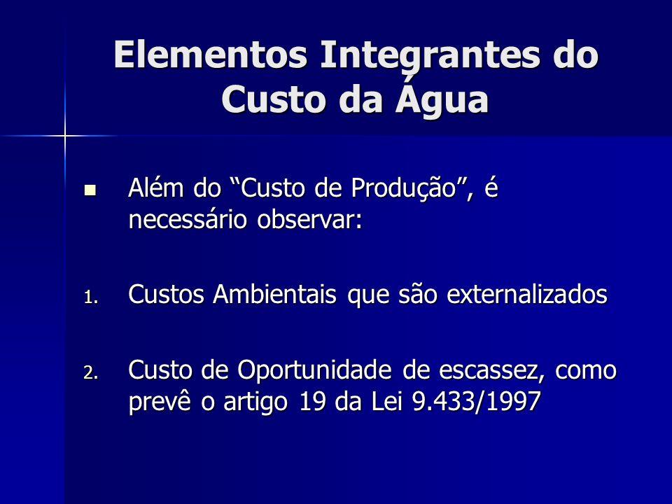 Elementos Integrantes do Custo da Água