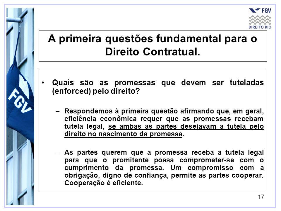 A primeira questões fundamental para o Direito Contratual.