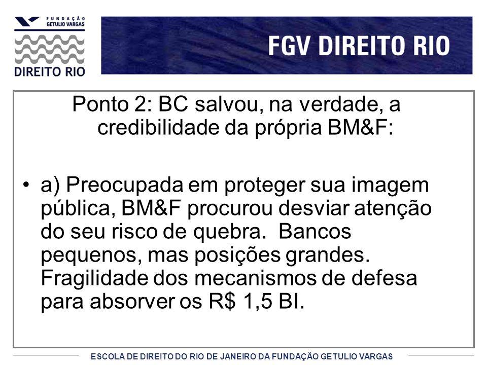 Ponto 2: BC salvou, na verdade, a credibilidade da própria BM&F: