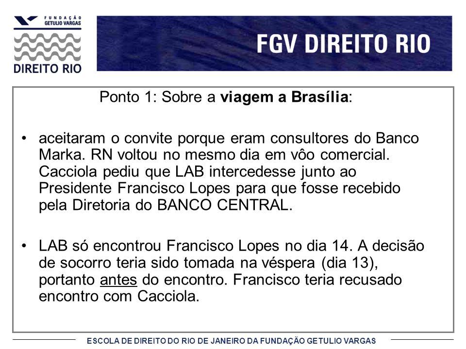 Ponto 1: Sobre a viagem a Brasília: