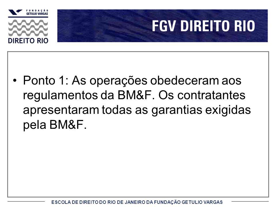 Ponto 1: As operações obedeceram aos regulamentos da BM&F