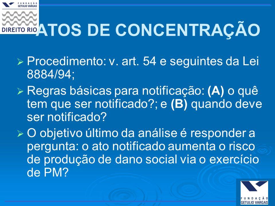 ATOS DE CONCENTRAÇÃO Procedimento: v. art. 54 e seguintes da Lei 8884/94;