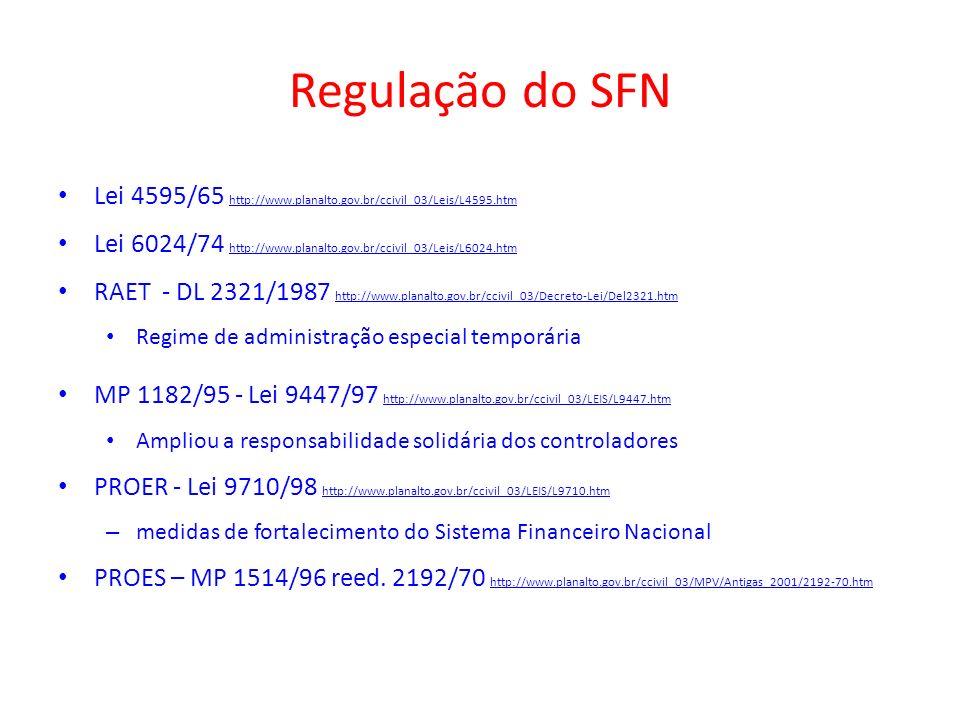 Regulação do SFNLei 4595/65 http://www.planalto.gov.br/ccivil_03/Leis/L4595.htm. Lei 6024/74 http://www.planalto.gov.br/ccivil_03/Leis/L6024.htm.