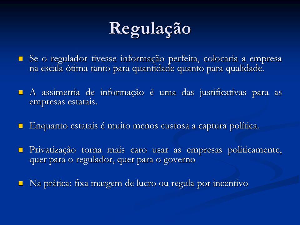 Regulação Se o regulador tivesse informação perfeita, colocaria a empresa na escala ótima tanto para quantidade quanto para qualidade.