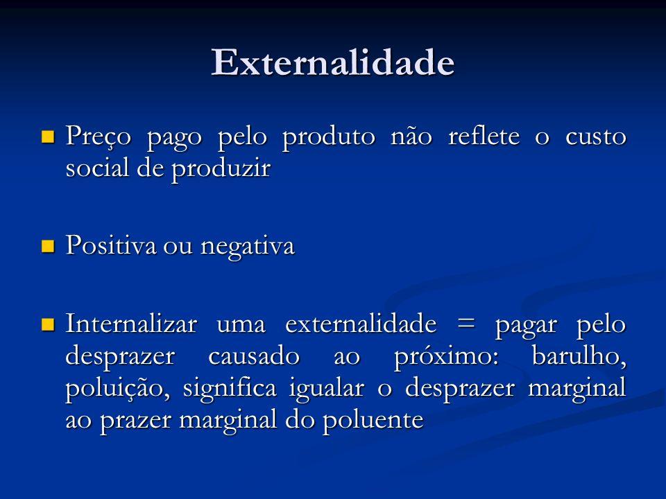 Externalidade Preço pago pelo produto não reflete o custo social de produzir. Positiva ou negativa.
