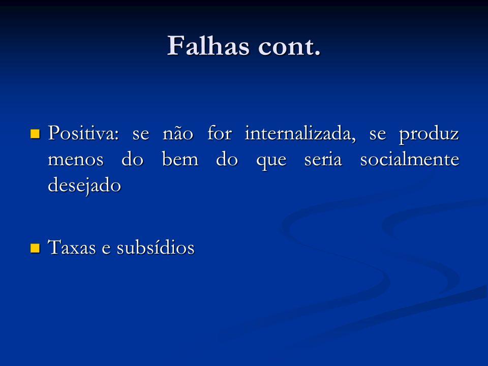 Falhas cont. Positiva: se não for internalizada, se produz menos do bem do que seria socialmente desejado.