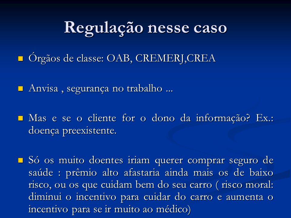 Regulação nesse caso Órgãos de classe: OAB, CREMERJ,CREA
