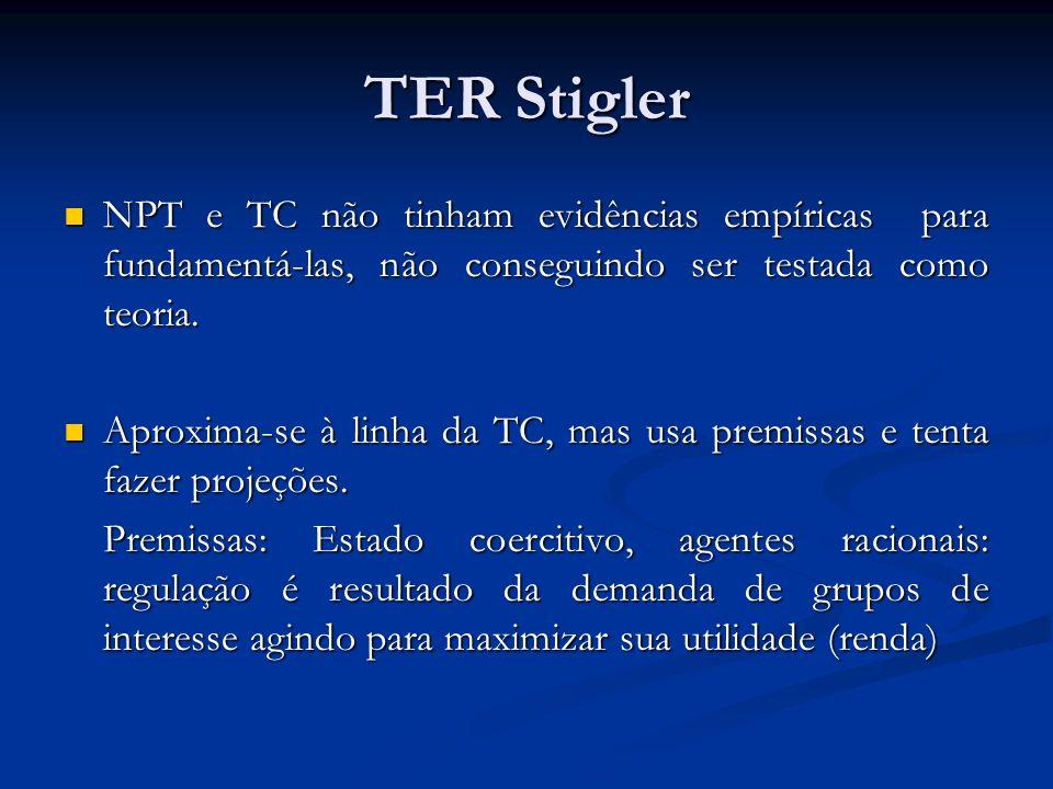 TER StiglerNPT e TC não tinham evidências empíricas para fundamentá-las, não conseguindo ser testada como teoria.