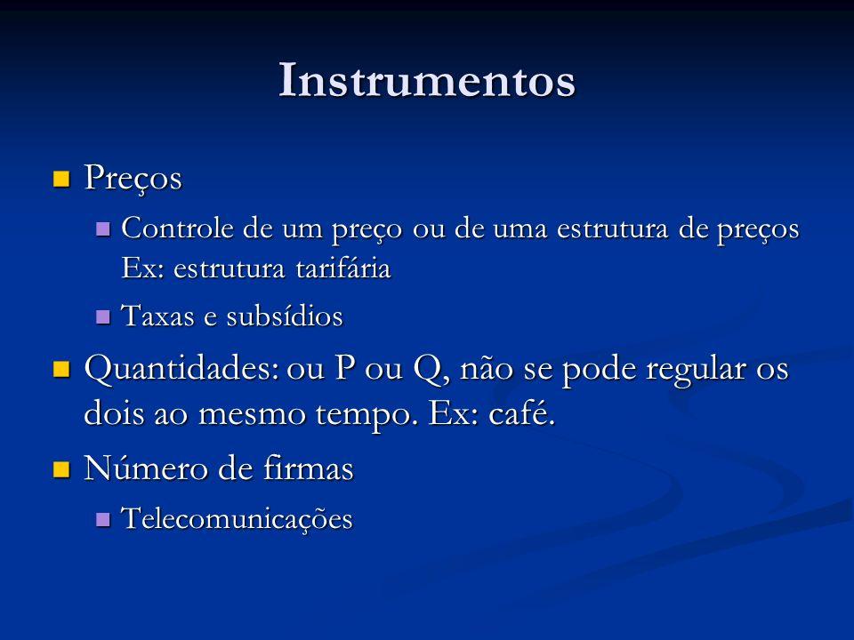 Instrumentos Preços. Controle de um preço ou de uma estrutura de preços Ex: estrutura tarifária. Taxas e subsídios.