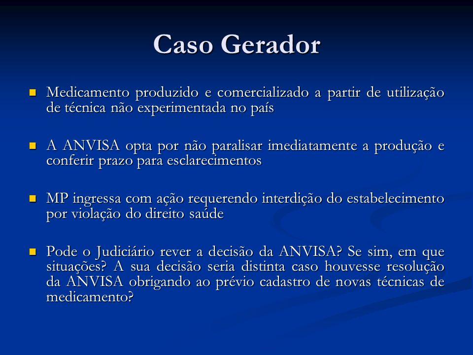 Caso Gerador Medicamento produzido e comercializado a partir de utilização de técnica não experimentada no país.