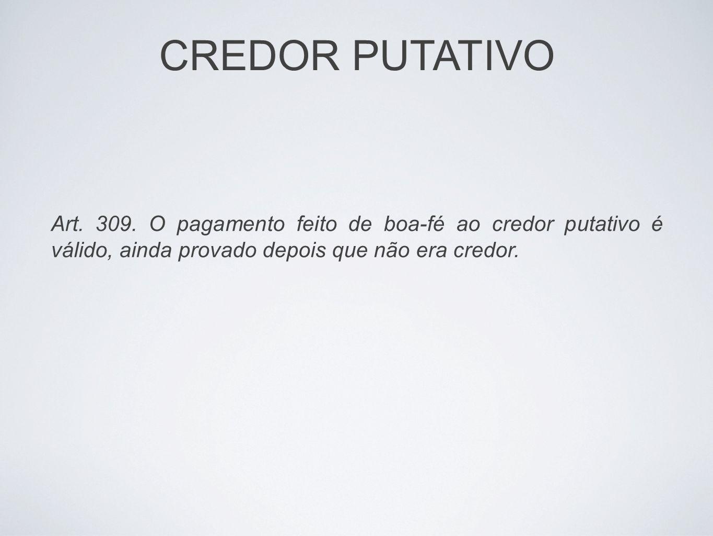 CREDOR PUTATIVO Art. 309. O pagamento feito de boa-fé ao credor putativo é válido, ainda provado depois que não era credor.