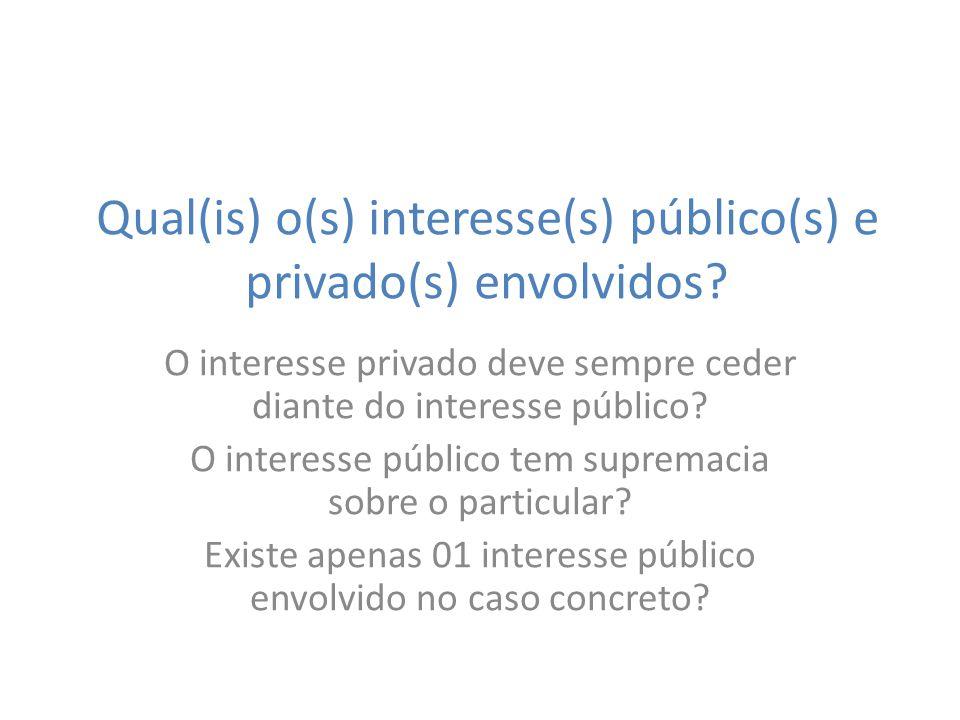 Qual(is) o(s) interesse(s) público(s) e privado(s) envolvidos
