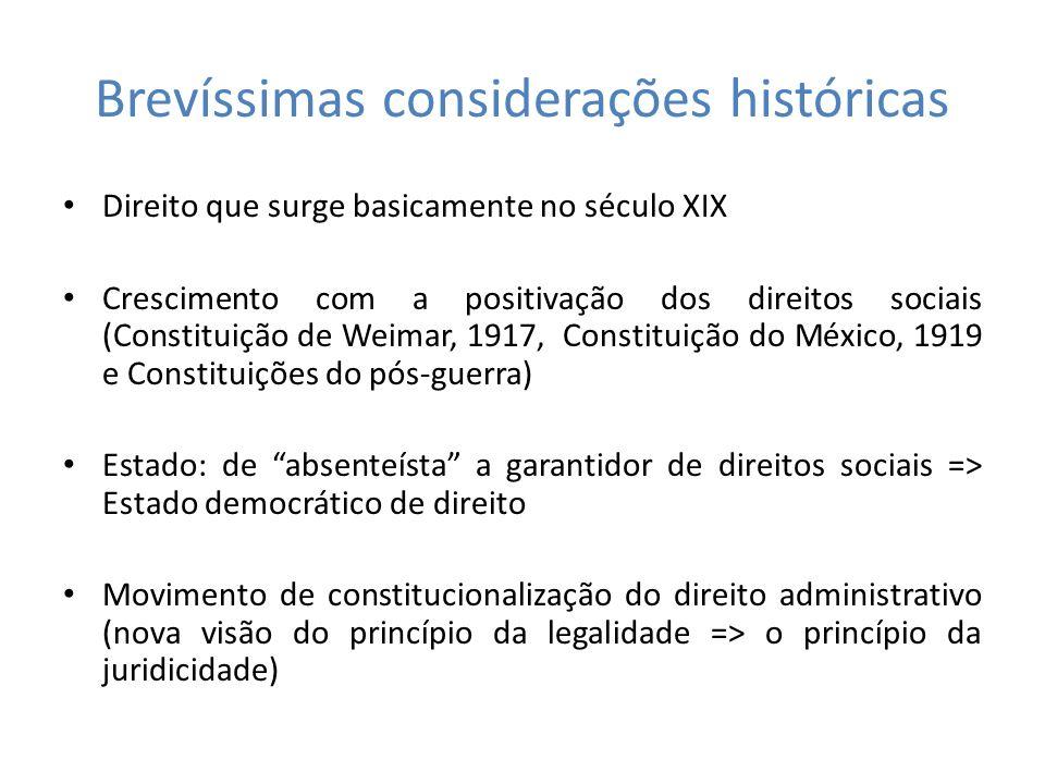Brevíssimas considerações históricas