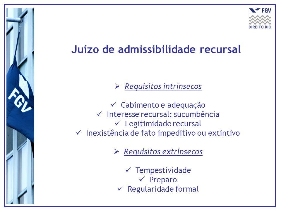 Juízo de admissibilidade recursal
