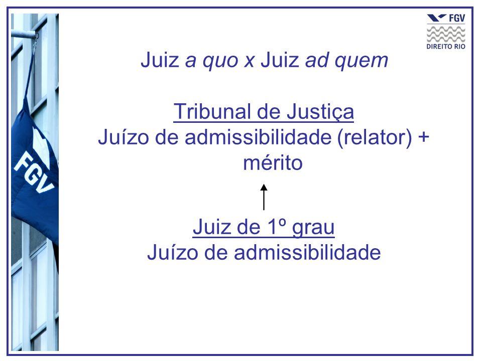 Juiz a quo x Juiz ad quem Tribunal de Justiça