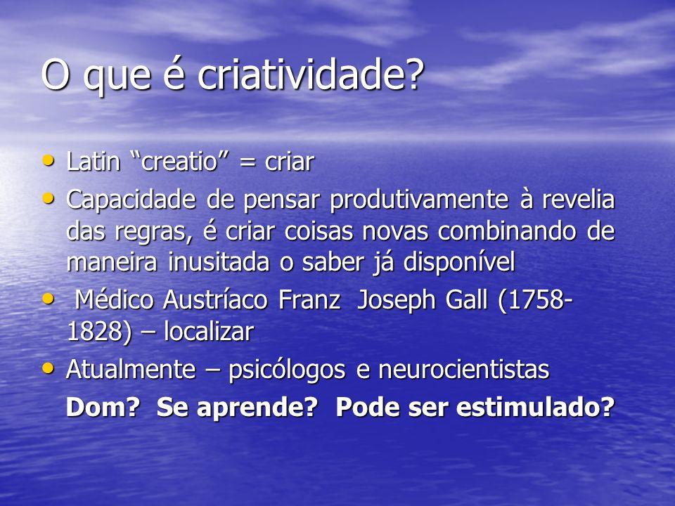 O que é criatividade Latin creatio = criar