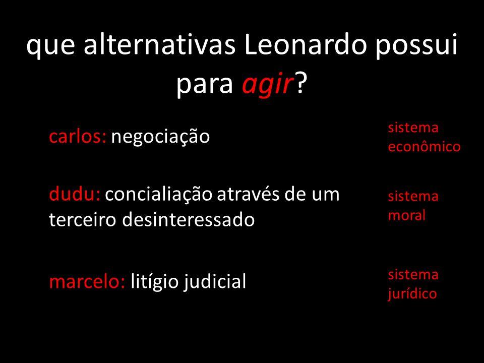 que alternativas Leonardo possui para agir