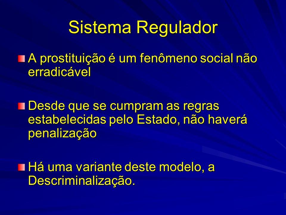 Sistema Regulador A prostituição é um fenômeno social não erradicável