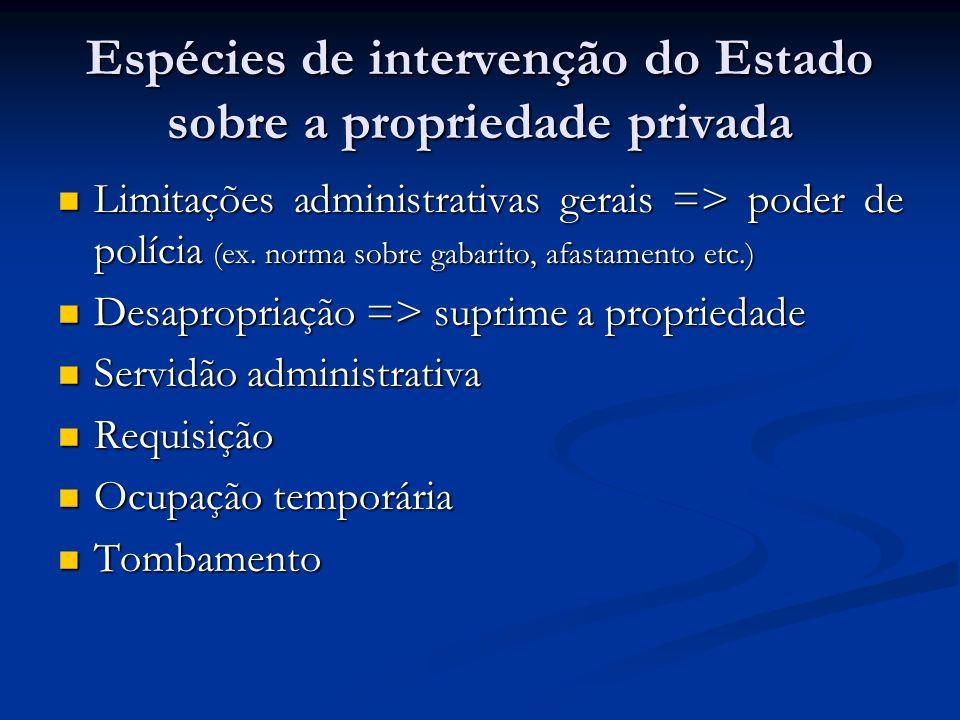 Espécies de intervenção do Estado sobre a propriedade privada